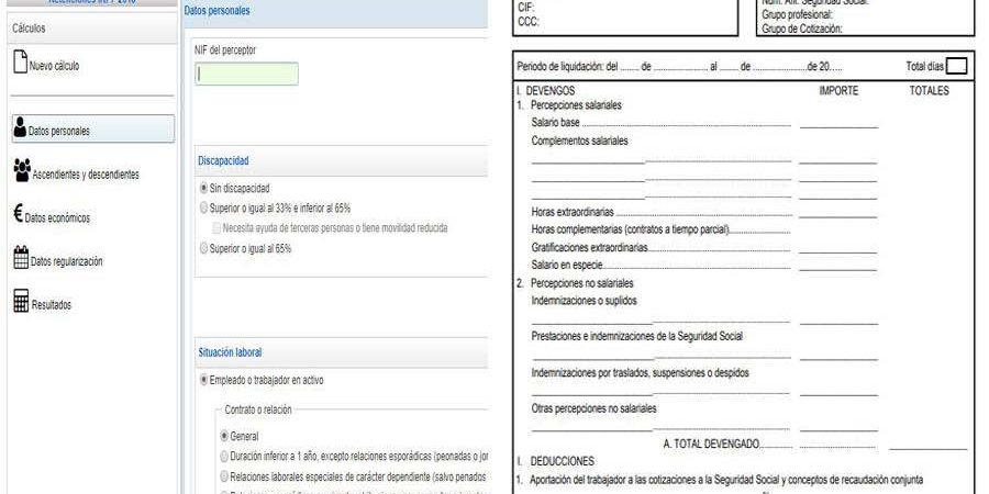 Calculo retenciones Nomina Calculadora AEAT